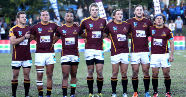 Varsity 7s Rugby, Villagers RFC, Cape Town, Day 3.  2 May 2016.  Photo:  Thys Lombard   Maties starting 7