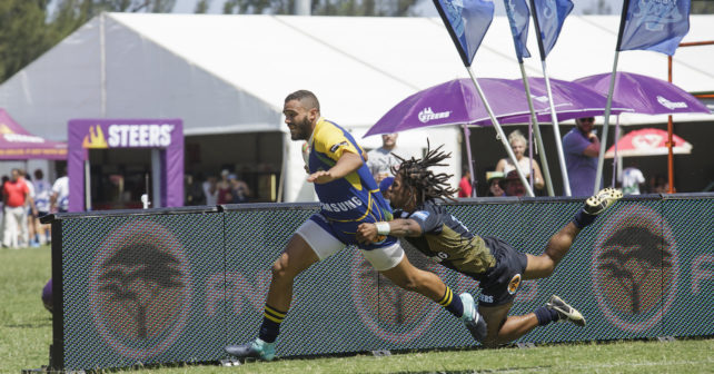 Verno Treu from UWC during Varsity 7's Rugby match between Madibaz and UWC at Kings Park Stadium in Durban on December 1, 2017