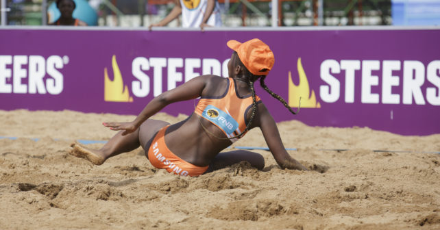 Varsity Beach Volleyball match between VUT and UJ at Kings Park Stadium in Durban on December 1, 2017