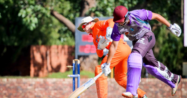 Shane crossing the line safely keeping him in game during the Varsity Cricket match Between UJ and NWU at the NWU oval in Potchefstroom on the 1st of February 2018