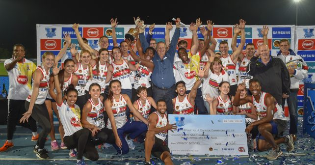 Pretoria, SOUTH AFRICA - MARCH 23:  Tukies crowned as winners up during the Varsity Athletics meeting on March 23, 2018 at LC de Villiers Sport centre Tuks in Pretoria, South Africa.  (Photo by Christiaan Kotze/SASPA)