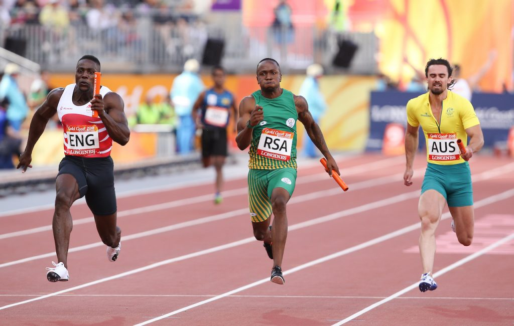 GOLD COAST, AUSTRALIA - APRIL 14: Akani Simbine of South Africa anchors his team home in the mens 4x100m relay final during the athletics on day 10 of the Gold Coast 2018 Commonwealth Games at the Carrara Stadium on April 14, 2018 in Gold Coast, Australia.  (Photo by Roger Sedres/Gallo Images)