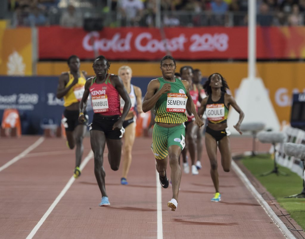 GOLD COAST, AUSTRALIA - APRIL 13: Caster Semenya of South Africa in action during the Women's 800m Final's on day 9 of the Gold Coast 2018 Commonwealth Games at Carrara Athletics Stadium on April 13, 2018 in Gold Coast, Australia. (Photo by Anton Geyser/Gallo Images)
