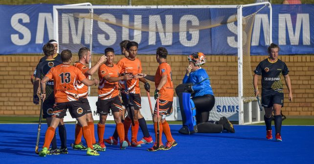 Varsity Hockey 2018. Friday 11 May 2018.  UJ celebrates after scoring during Game 18 UJ v Madibaz varsity hockey match at Tuks Hockey field Pretoria Photo by: Christiaan Kotze/SASPA