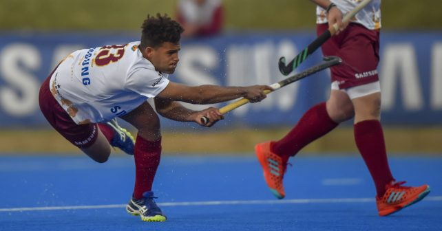 Varsity Hockey 2018. Friday 11 May 2018.  Maties 13 shooting for goal during Game 19 Maties v Kovsies  varsity hockey match at Tuks Hockey field Pretoria Photo by: Christiaan Kotze/SASPA