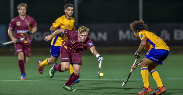 Varsity Hockey 2018. Saturday 05 May 2018.  Max Pike of Maties and Cody Van Wyk of Wits during Game 8 Wits v Maties varsity hockey match at Wits Hockey field Johannesburg Photo by: Christiaan Kotze/SASPA