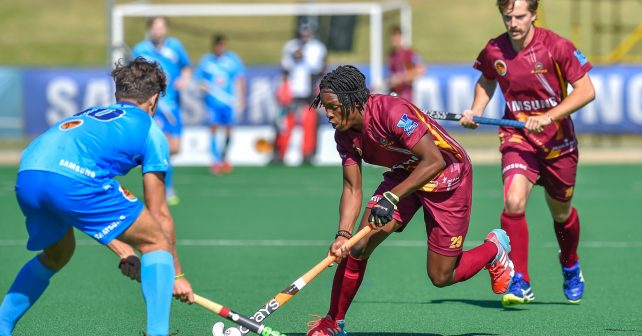 Varsity Hockey 2018. Sunday 06 May 2018.  /10uct and Mbuso Mgobozi of Maties during Game 9 UCT v Maties varsity hockey match at Wits Hockey field Johannesburg Photo by: Christiaan Kotze/SASPA