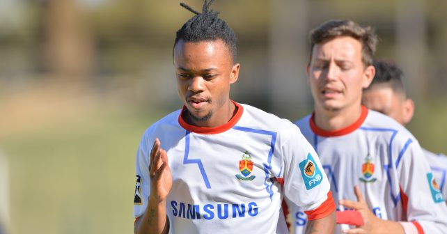 Odwa Makha of Tuks in action during warm-up for the Varsity Football match between Tuks and Wits at the LC de Villiers Stadium in Pretoria on 24 August 2017.