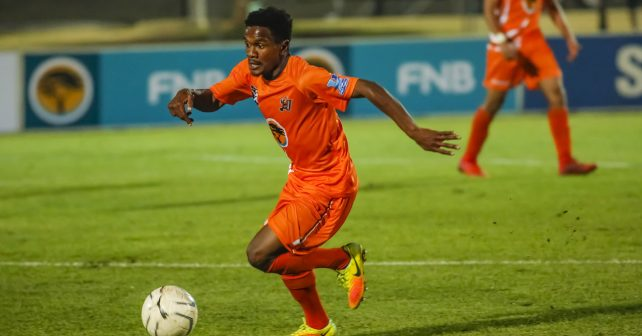 Tebogo Mandyu of UJ during the FNB Varsity Cup Soccer match between UJ and UL ( Limpopo ) at UJ Soweto Campus in Johannesburg on the 26th July 2018. Photo by Dominic Barnardt / VarsitySports