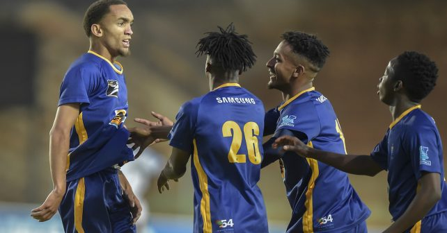 Johannesburg, SOUTH AFRICA - August 02:  Waylan Rooi of Wits celebrates with his team mates after scoring his goal during the Varsity Sports Football match between Wits  and UWC on August 02, 2018 at Wits Stadium in Johannesburg, South Africa. #VarsityFootball  (Photo by Christiaan Kotze/SASPA)
