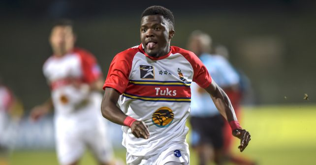 Pretoria, SOUTH AFRICA - July 26:    Sabelo Tsambo of Tuks during the Varsity Sports  Football match between Tuks and TUT  on July 26, 2018 at LC de Villiers Sport centre Tuks in Pretoria, South Africa. #VarsityFootball  (Photo by Christiaan Kotze/SASPA)