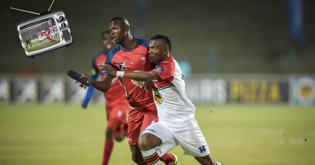 Pretoria, SOUTH AFRICA - July 26:    Mogau M Mphahlele of TUT and Nhlanhla Mabaso of Tuks during the Varsity Sports  Football match between Tuks and TUT  on July 26, 2018 at LC de Villiers Sport centre Tuks in Pretoria, South Africa. #VarsityFootball  (Photo by Christiaan Kotze/SASPA)