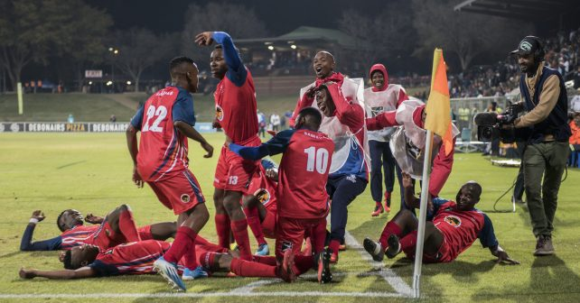 Pretoria, SOUTH AFRICA - July 26:    Lebogang Phatlane of TUT celebrating with his team mates after scoring his goal during the Varsity Sports  Football match between Tuks and TUT  on July 26, 2018 at LC de Villiers Sport centre Tuks in Pretoria, South Africa. #VarsityFootball  (Photo by Christiaan Kotze/SASPA)