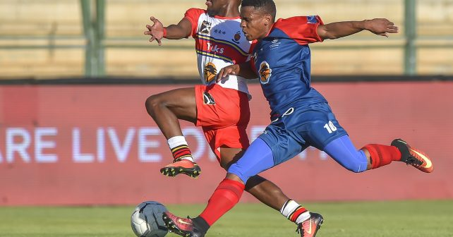 Pretoria, SOUTH AFRICA - September 13: Sabelo Tsambo of TUKS and Thabiso Lebitso of TUT  during the Varsity Sports Football Semi-Final match between Tuks and TUT on September 13, 2018 at Tuks Stadium in Pretoria, South Africa. #VarsityFootball  (Photo by Christiaan Kotze/SASPA)