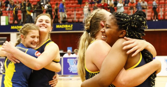 Madibaz celebrate their win during the game between Madibaz and Maties      Photo by: MICHAEL SHEEHAN/Varsity Sports