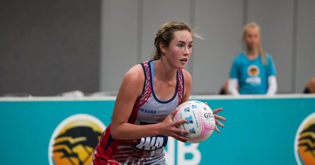 Meagan Roux of Kovsies during the match between Kovsies and Tuks during the Varsity Sport Netball tournament at the Callie Human Hall UFS, Sunday 27August Bloemfontein