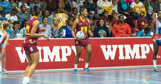 Sasha-lee Petersen of Maties during the Varsity Netball match between Maties and Kovsies at Coetzenburg Sports Centre in Stellenbosch on 10th September, 2018
