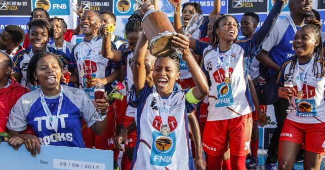 TUT take the win with captain Kgomotoso Mashiloane holding gip the trophy during the Final of the Ladies Varsity Football match between TUT and UJ at TUT Stadium in Pretoria on 28th September, 2017. Photo by Dominic Barnardt/Varsity Sports