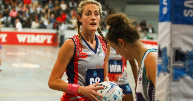 Alicia Puren of Kovsies during the match between Kovsies and Pukke during the Varsity Sport Netball tournament at the Callie Human Hall UFS, Monday  24 September 2018, Bloemfontein