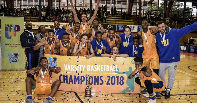 Wits are crowned champions for 2018 of the Varsity Sports Basketball MENS FINAL Match 34, vs on October 14, 2018 at Wits Multi-Purpose Hall in Johannesburg, South Africa. #Varsitybasketball  (Photo by Catherine Kotze/SASPA)