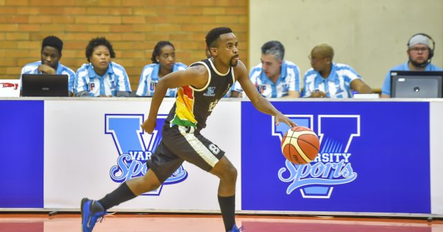 Siyethemba Ciliza (8) from University of KZN during the Varsity Sports Basketball match 15 between UP Tuks v UKZN on October 07, 2018 at Wits Multi-Purpose Hall in Johannesburg, South Africa. #Varsitybasketball  (Photo by Christiaan Kotze/SASPA)