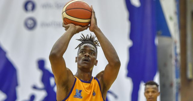 Richard Lubasi (13) from University of Witwatersrand during the Varsity Sports Basketball match 16 between Wits v UJ on October 07, 2018 at Wits Multi-Purpose Hall in Johannesburg, South Africa. #Varsitybasketball  (Photo by Christiaan Kotze/SASPA)
