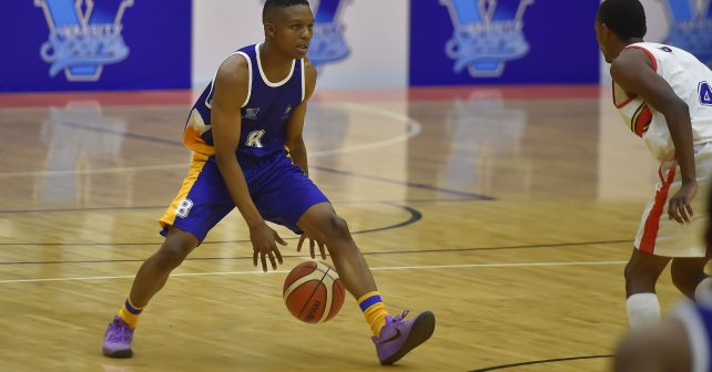 Thamsanqa Nyawo (8) from University of Witwatersrand during the Varsity Sports Basketball match 19 between UP-Tuks and Wits on October 12, 2018 at Wits Multi-Purpose Hall in Johannesburg, South Africa. #Varsitybasketball  (Photo by Christiaan Kotze/SASPA)