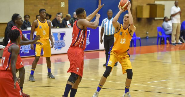 Molatelo Manamela (7) from TUT and Miquel Ferrao(12) from University of Witwatersrand during the Varsity Sports Basketball Match 27 WITS vs TUT on October 13, 2018 at Wits Multi-Purpose Hall in Johannesburg, South Africa. #Varsitybasketball  (Photo by Christiaan Kotze/SASPA)