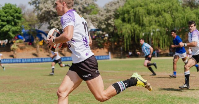De Wet Terblanche of NWU during the Varsity 7's Rugby match between NWU and Kovsies at Pirates Rugby Club in Johannesburg on October 5, 2018
