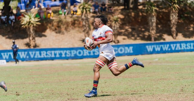 Mihle Nelani of UP Tuks during the Varsity 7's Rugby match between UP Tuks vs UWC at Pirates Rugby Club in Johannesburg on October 6, 2018