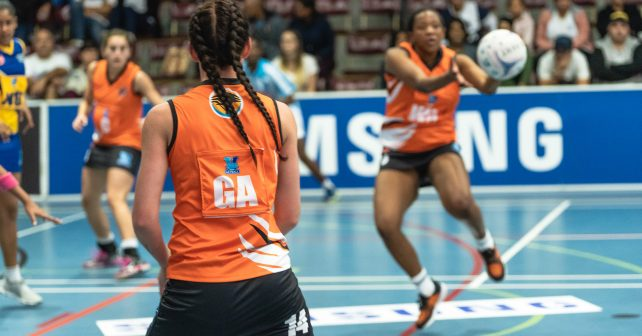 Kim-Roche Holmes (VC) of UJ during the Varsity Netball match between UWC and UJ at Coetzenburg Sports Centre in Stellenbosch on 10th September, 2018
