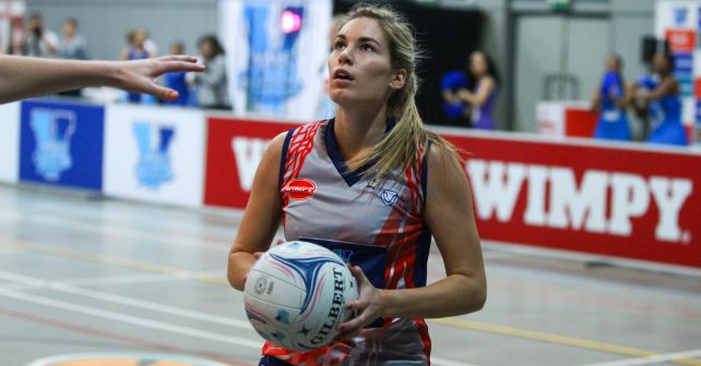 Lefebre Rademan of Kovsies during the semi-final match between Kovsies and Maties during the Varsity Sport Netball tournament at the Callie Human Hall UFS, Monday  1 October 2018, Bloemfontein