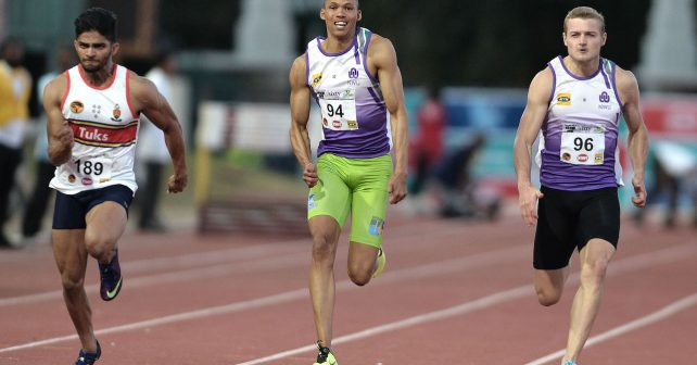 Shaahid Motala of TUKS, Chederick van Wyk and Theodor Young of NWU during the 2019 Varsity Athletics series held at the Coetzenburg Stadium in Stellenbosch, SOUTH AFRICA