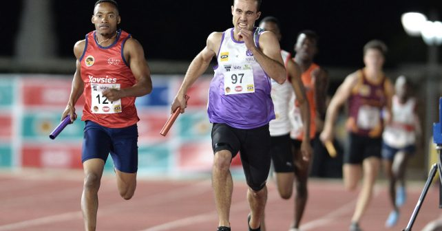 Stefan Bruwer of NWU in the medley relay during the 2019 Varsity Athletics series held at the Coetzenburg Stadium in Stellenbosch, SOUTH AFRICA
