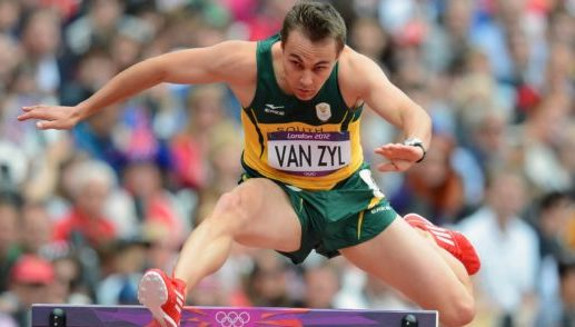 LJ van Zyl competes in the Mens 400m hurdles round 1 during the Olympic Athletics at the Olympic Park in London on 03 August  2012 ©Gavin Barker/BackpagePix