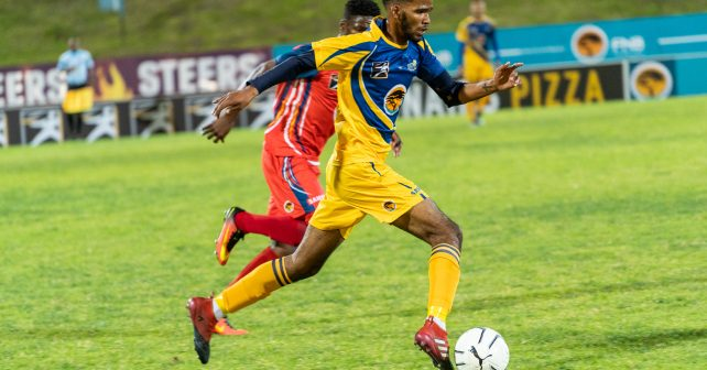 Jay-Dee Adams of UWC during the Varsity Football match between UWC and TUT at UWC Sports Stadium in Bellville on August 9, 2018